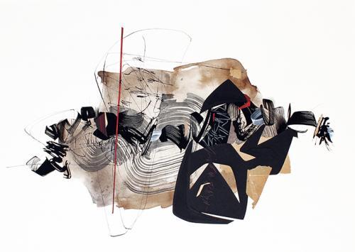 2018-760245 x 65 cmGouache, encre gallo-tanique, brou, collages sur papier