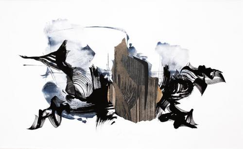 2018-809938 x 58 cmGouache aquarelle, encre de Chine, brou, collages sur  papier
